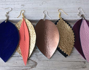 Real leather earring