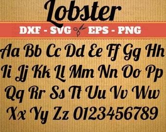 Lobster Script Monogram Svg Font; Svg, Dxf, Eps, Png; Digital Monogram, Calligraphy Script, Cursive Svg Font, Silhouette, Cricut, Cut File