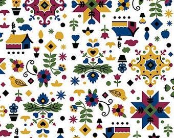Mustard Blue Penn Dutch Knit Fabric