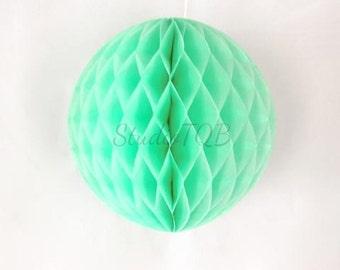 30cm Mint Honeycomb Ball / Light Green Tissue Paper Honeycomb Lantern / Mint Pom Pom Ball / Baby Shower Party Decor / Wedding Decor