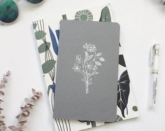 Gray Wild flower Moleskine