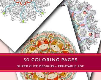 Printable coloring pages, 30 printable mandalas, Cute mandalas, Animal mandalas, Animal coloring pages, Mandala PDF, Cute coloring book