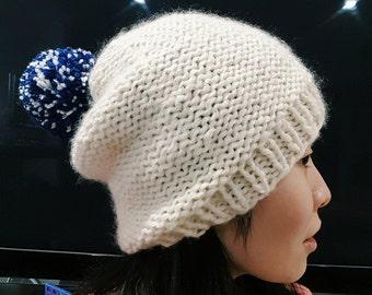 Slouchy Beanie with Pom Pom - Blue white yarn Pom Pom - Knit Pom Pom hat - Knit Beanie - Winter hat