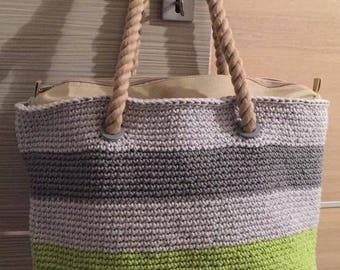 Handmade crochet bag with obag type compatible accessories
