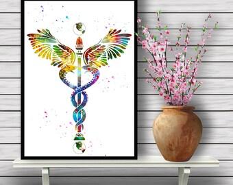 Colorful Caduceus, Registered Nurse Graduation gift, Medical Watercolor Room Decor, Home Decoration, gift, Instant Download (381)
