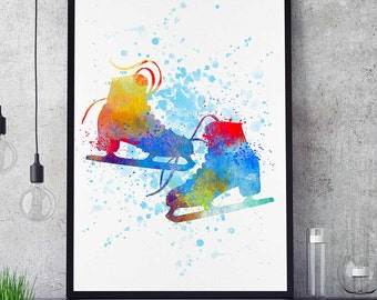 Skating Shoes Print, Ice Skating Gift, Watercolor Print, Sports Decor, Girl Skating Wall Art (N040)