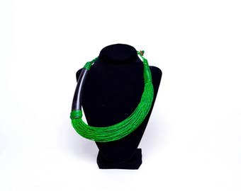 Tribal Collection, Green leather necklace