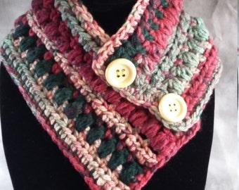 Neck Warmer, Handmade Crochet, Burgundy-Green-Natural, Gift for Her, Acrylic Yarn, Warm and Stylish, Button Neckwarmer Scarf, Ready to Ship