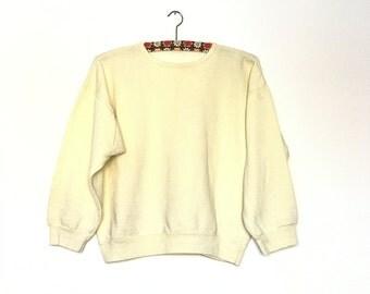 Vintage Women Sweatshirt// Light Yellow // Oversized //1980s