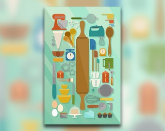 Baking Collection - Pastry Art Print - Tools & Utensils - Kitchen Decor - Bread - Dough - Knolling - Graphic Design Poster