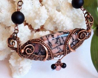 Copper pendant wire wrapped necklace Rhodonite necklace Rhodonite jewelry wire necklace handmade jewelry wire jewelry copper jewelry