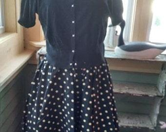 Vintage Smart Set Sportswear Black and White Polka Dot Skirt!