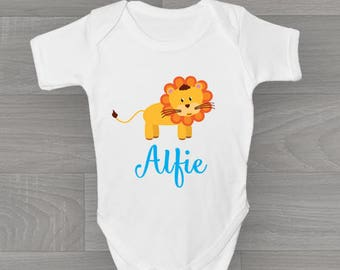 Personalised Boys Lion Baby Grow, Cute & Unique Safari Zoo Animal Bodysuit Baby Onesie Gift.