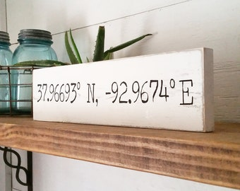 Coordinate Signs | Casual Farmhouse | Woodland | Cottage Home Style | Latitude Longitude | Shabby Chic | Wood Sign | Handcrafted