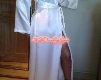 Bridal Robe white silk robe long silk dressingown satin robe white silk bride robe long bridal robe bridal robe wedding day dressing gown