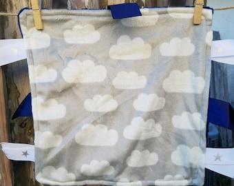 Minky Cloud Lovie with Ribbon - Baby Sensory Lovie - Comfort Lovie Blanket - Ready to Ship