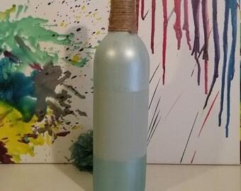 Blue Striped Upcycled Wine Bottle