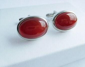 Silver and Orange Oval Cuff links, Carnelian Cuff Links, Oval Cuff Links, Wedding Links, Gifts for Men, Semi Precious Gemstone Cuff Links