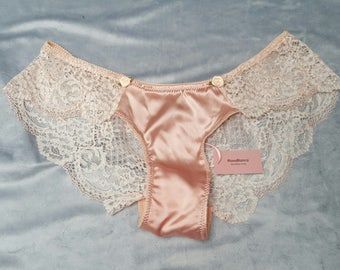 Alice panty, antique pink, lace and silk satin, handmade.