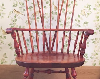 Vintage Chair, Farmhouse Country Kitchen Maple Windsor Chair, 'Nichols & Stone' American Chair, Shabby Chic Mid Century Vintage Chair.