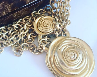 Vintage Necklace, 1980's Vintage Gold Tone Heavy Rose Pendant Multichain Necklace, Gift For Her.