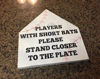 Funny bathroom signs - rustic baseball signs - players with short bats - bathroom humor - fun baseball signs - bathroom decor - bathroom