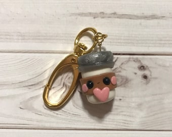 Cute Coffee Cup with Heart Gold Keychain for Coffee lovers