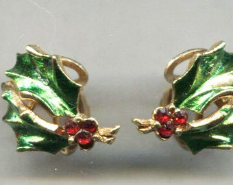 Holly Leaf Clip Back Earrings