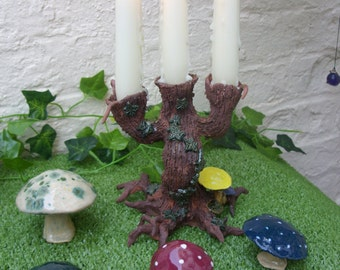 Handcrafted Terracotta Fantasy Garden Tree Candelabra with green Ivy & Toadstools