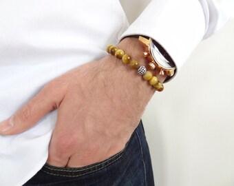 EXPRESS SHIPPING,Yellow Tiger Eye Bracelet,18k Black Rhodium Plated,Swarovski Ball Bracelet,Mens,Womans Jewelry,Protective,Strength Bracelet