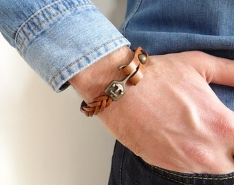 EXPRESS SHIPPING,Camel Thick Braided Leather Bracelet,High Quality Leather Bracelet,Men's Jewelry,Antique Clasp Bracelet,Father's Day Gifts