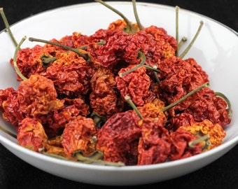 Carolina Reaper Dried Whole Pepper Pods World's Hottest w/Seeds Hotter Than Ghost