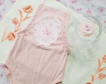 sitter pink romper, 5 - 8 month photo outfit, baby photo outfit, baby photo clothes, sitter onesie, baby pink romper, baby lace headband