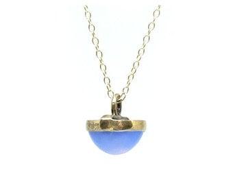 Antique Gold Necklace | Antique Necklace | Edwardian Necklace | Blue Chalcedony Necklace | Gemstone Necklace | Charm Necklace | Gold Pendant