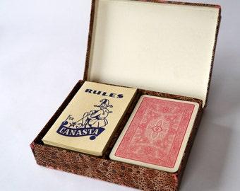 Boxed two deck Canasta playing cards, Alf Cooke Ltd 1950's