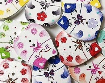 10 x cute chubby face cat wooden buttons - free post!