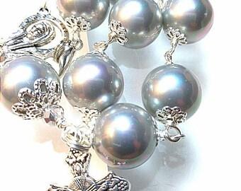 Antique vintage style 12mm Tahitian silver grey shell pearl Catholic religious prayer rosary bead bracelet