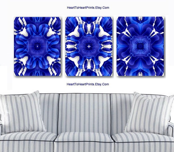 Items similar to royal blue wall art cobalt blue white - Cobalt blue bathroom accessories ...