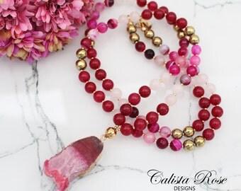 Pink Beaded Gemstone necklace mala necklace Pink Druzy necklace Pink Gemstone necklace Pink Quartz necklace Boho Jewelry - Cranberry Sauce