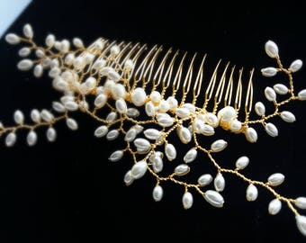 Bridal hair comb, pearl headpiece, bridal headpiece, wedding accessory, rustic wedding, pearl hair comb, gold hair comb, gold headpiece