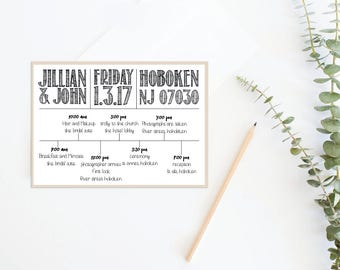 Timeline Wedding Itinerary Welcome Bag timeline schedule Black & white timeline schedule, Instant Download Wedding Welcome Bag Printable
