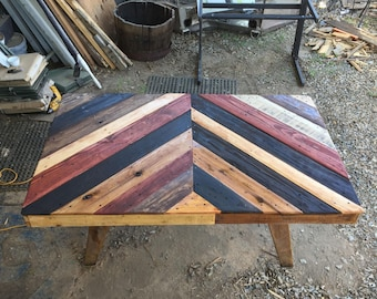 Chevron Dining Table with Saw Horse Legs