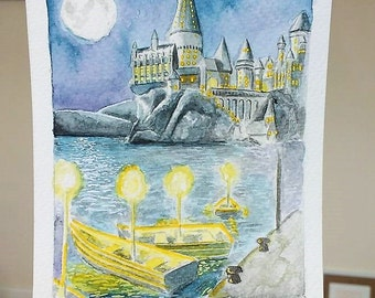 Harry Potter - Hogwarts by moonlight - Dumbledore - A6 hand-signed print