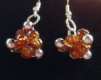 Bronze with Silver Accents Cluster Earrings