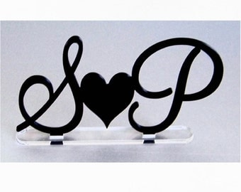 Initial Wedding Cake Topper with Heart by VividLaser-Spike or Freestanding