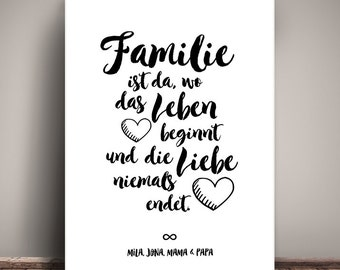 Personalized FAMILY - art print, mural painting, print, DIN A3