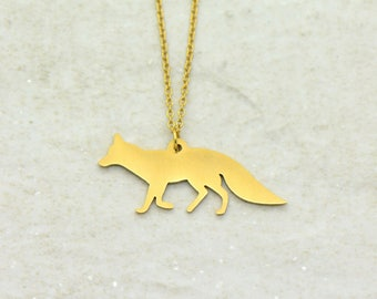 Fox Necklace, Brushed 24k Gold Plated Stainless Steel, Dainty Minimal Geometric Layering Layered Long Necklaces