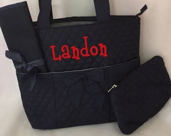 SALE---- Navy Quilted 3pcs Diaper Bag