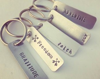 One Word Keychain, Personalized Keychain, Collar Tag, Zipper Pull