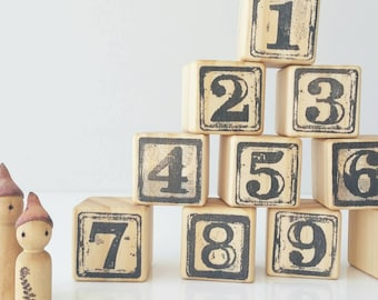 Wooden Number blocks ~ Classic 1 2 3 building blocks ~ Educational ~ Numbers from 0 - 9 ~ 4x4 cm. Made from PINE Stamped in Black.